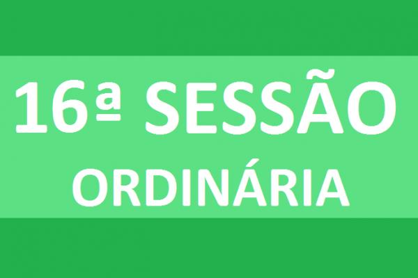 PAUTA 16ª SESSÃO ORDINÁRIA