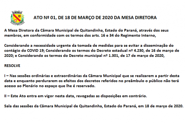 ATO Nº 01-2020 - Sessões sem acesso de público