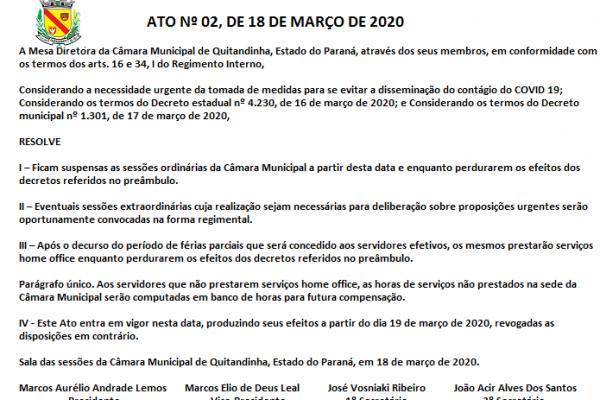 ATO Nº 02, DE 18 DE MARÇO DE 2020