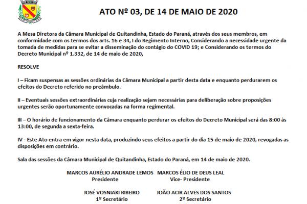 ATO Nº 03, DE 14 DE MAIO DE 2020